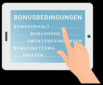 Icon mit den wichtigsten Bonusbedingungen