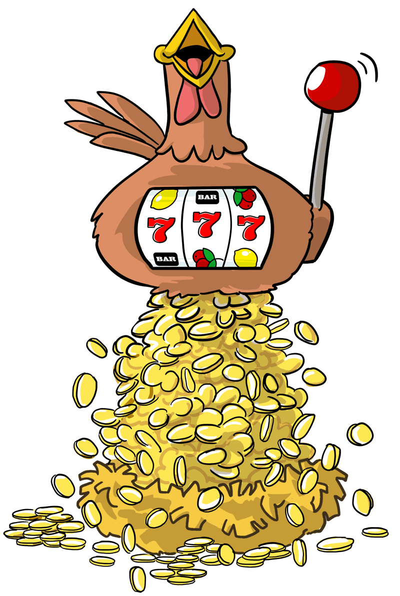 La gallina ha vinto il Jackpot di un slot.