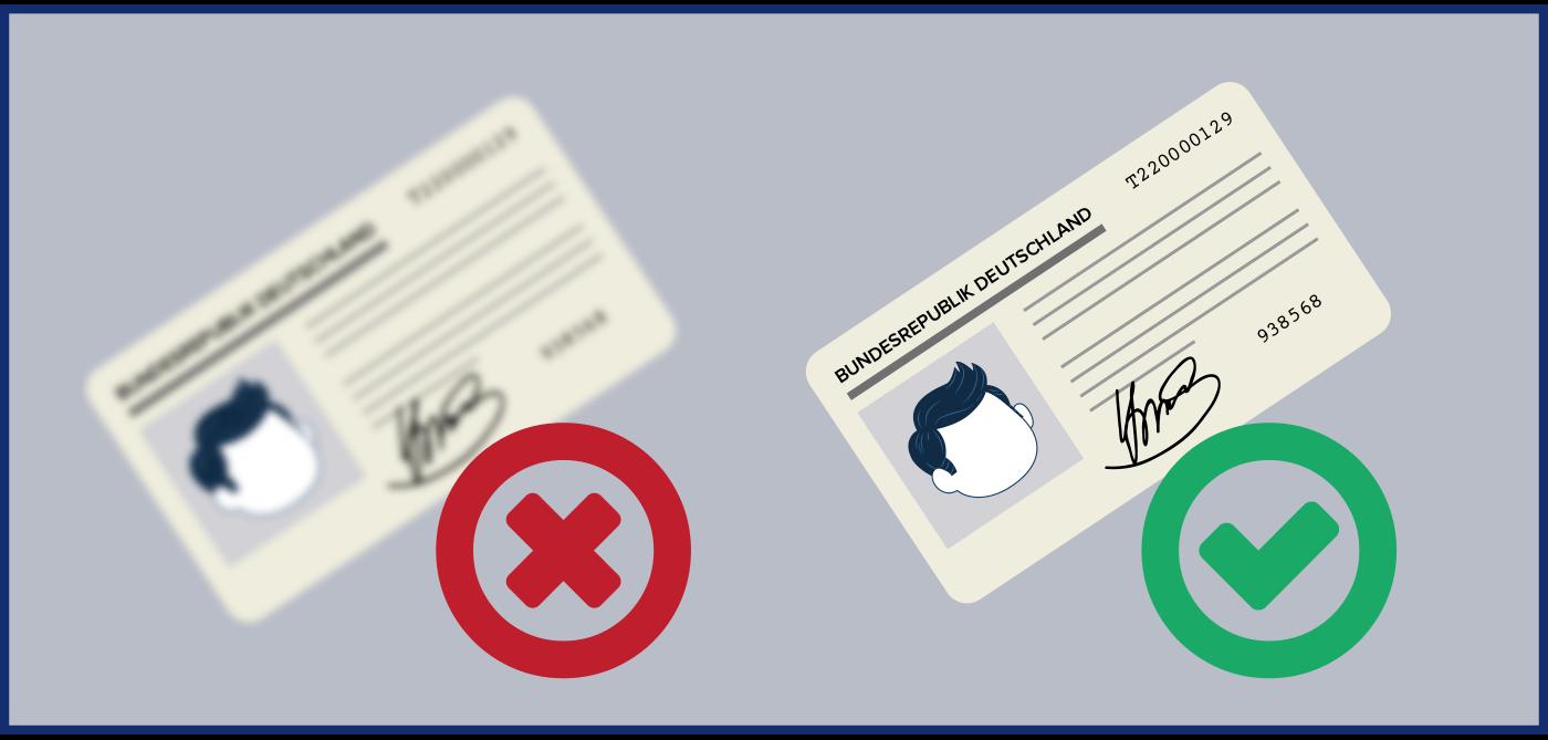 Bild, das zeigt, wie der Personalausweis abgebildet sein muss, um als Identitätsnachweis anerkannt zu werden