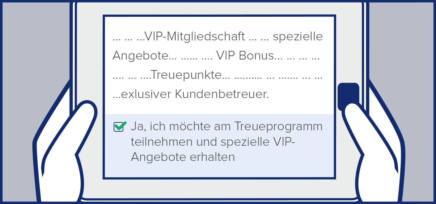 Bildschirm mit Text zur Bestaetigung der Teilnahme am VIP-Programm