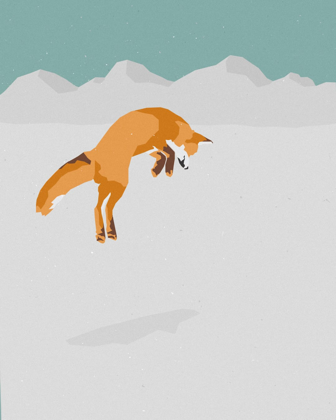 An illustration of a North American fox hunting in the snow by diving head first to catch its prey