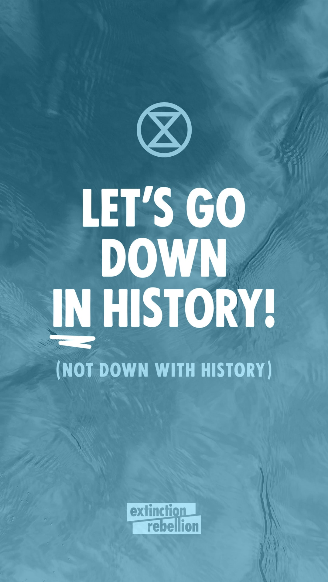 let's go down in history, not down with history. Climate protest design for Extinction Rebellion.