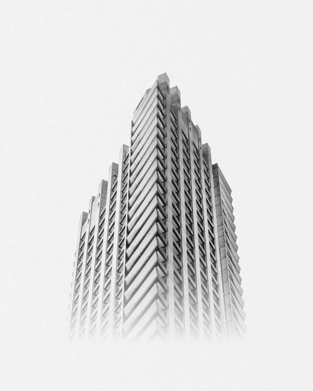 The Barbican Shakespeare Tower in London. Brutal architecture dystopian photograph