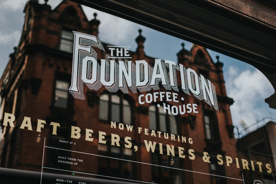 The Foundation Coffee House in Manchester logo and window graphic property photography for Bricklane.com