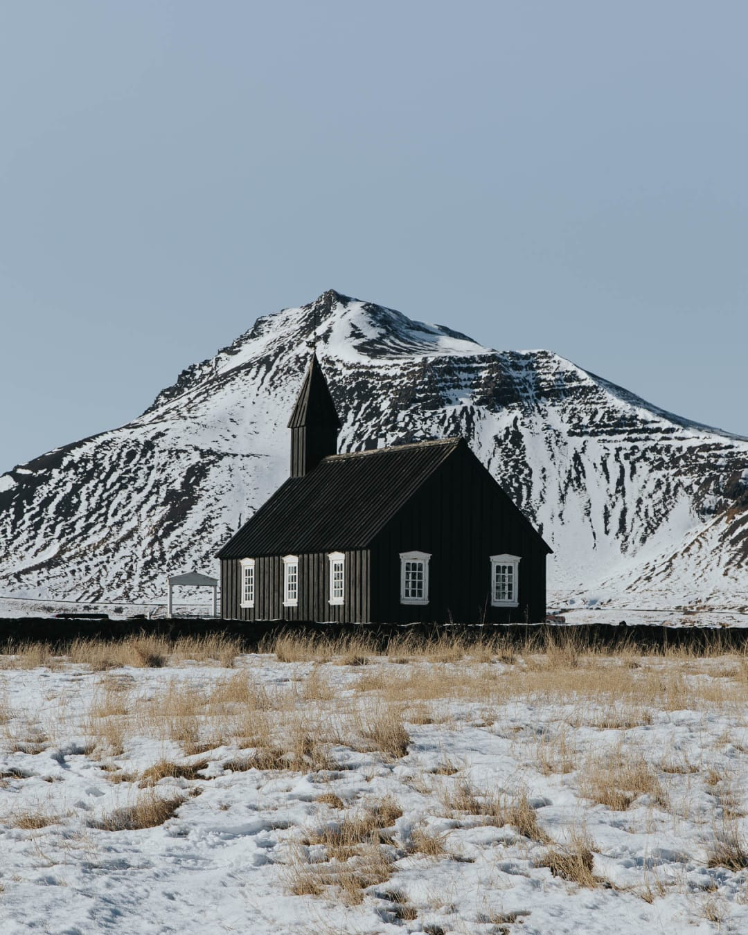 Búðakirkja black church landscape photography of Iceland