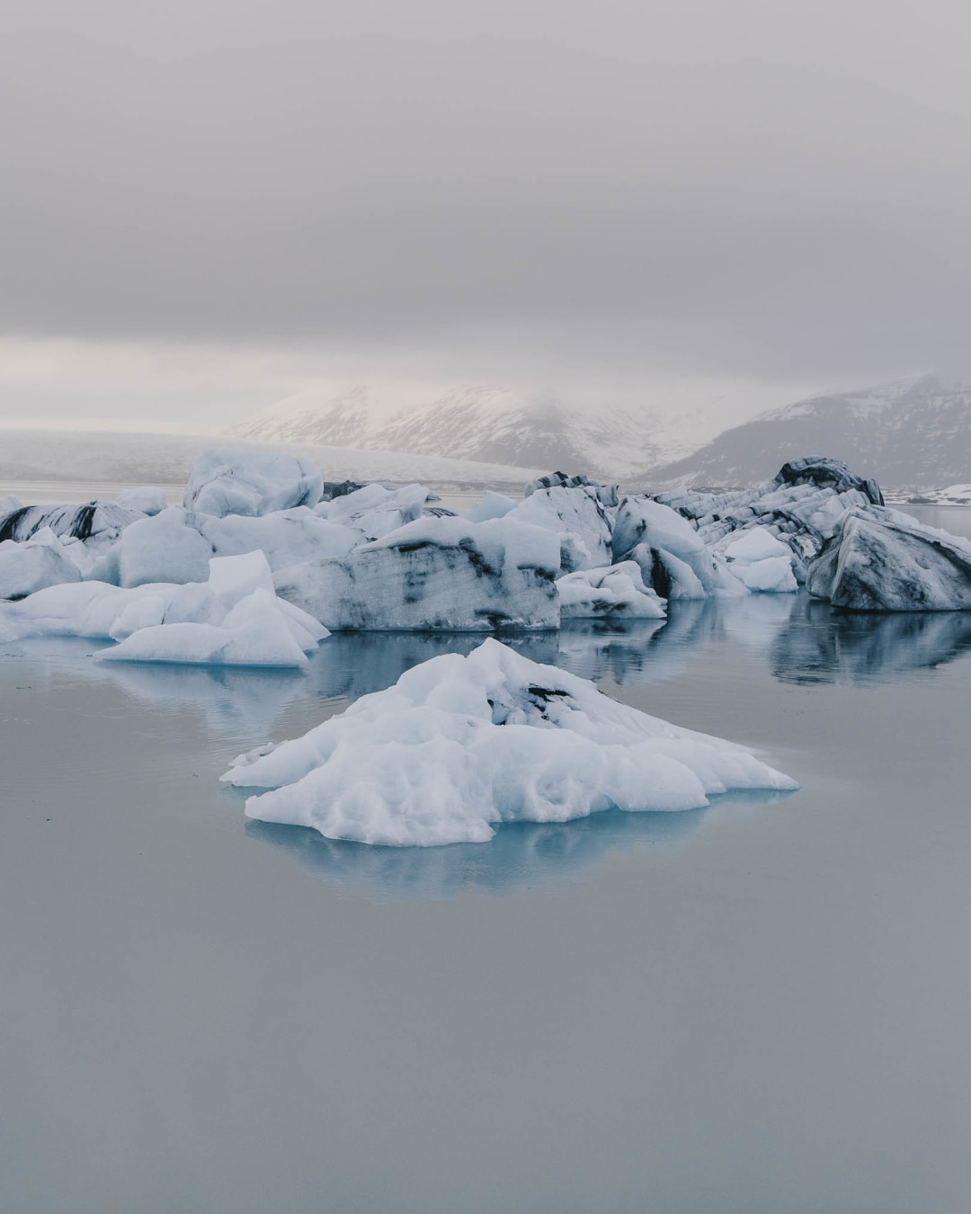 A small floating iceberg at Glacier Lagoon landscape photography of Iceland