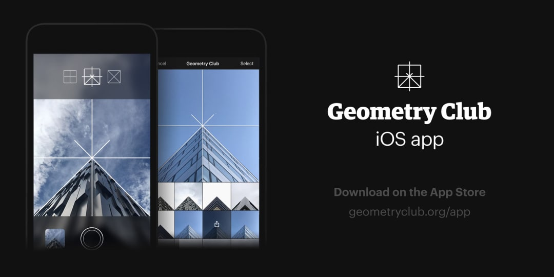 Screen shots on an iPhone of the Geometry Club iOS camera app