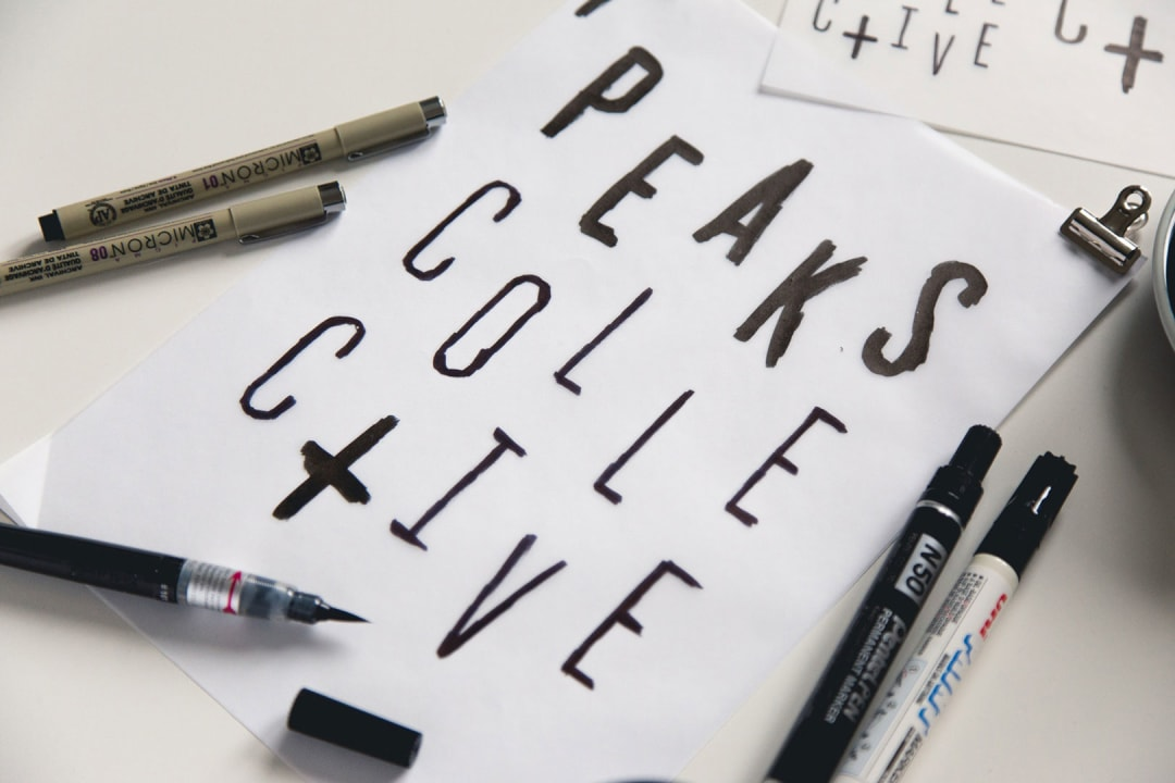 Peaks Collective hand lettering progress