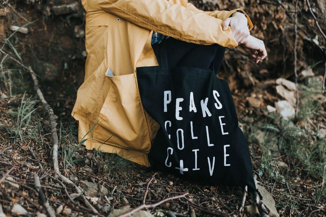 Peaks Collective printed tote bag design