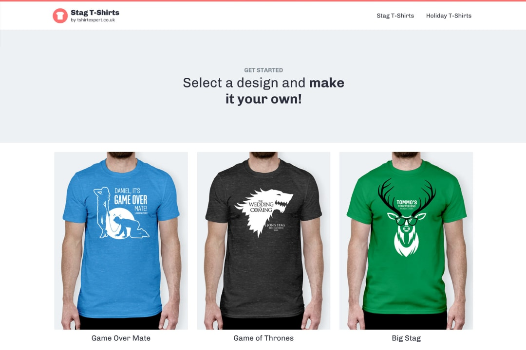 stag t-shirt designs page