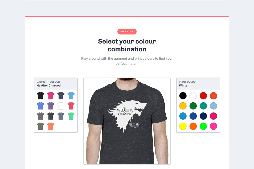 a screenshot of the t-shirt colour selector from tshirtexpert.co.uk