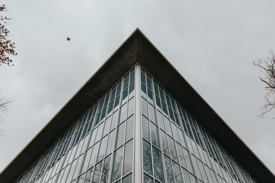 looking up at the triangular facade of the Design Museum in Kensington