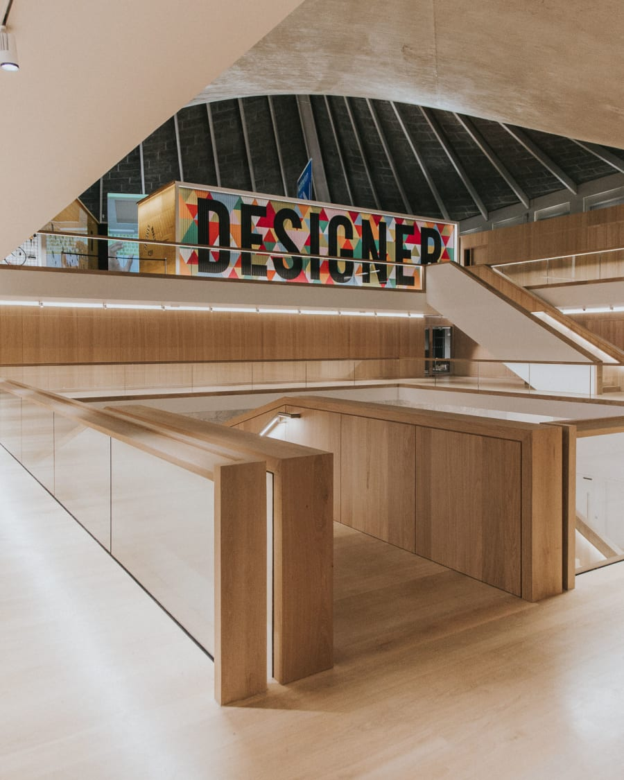 A view from the first floor of the Design Museum in London