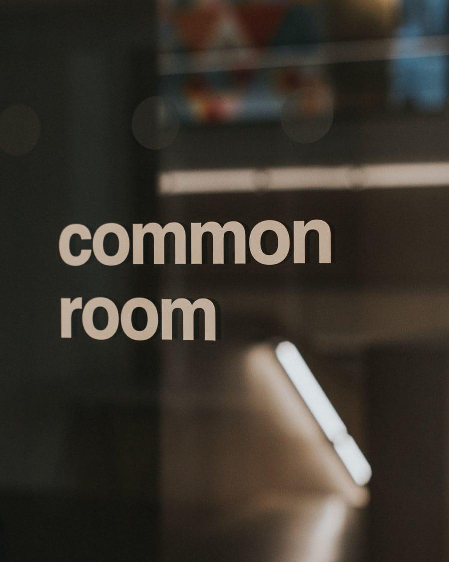 Common Room window graphic sign