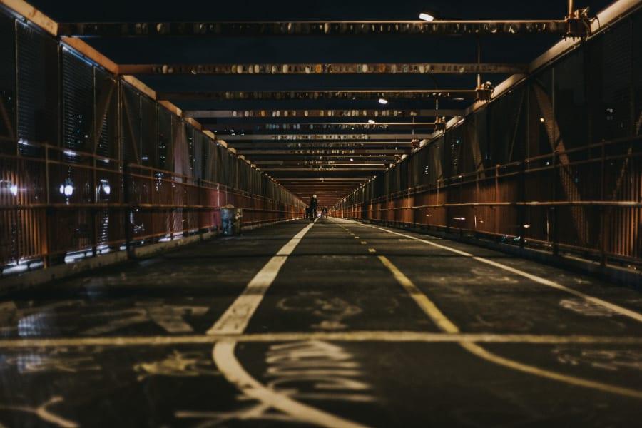 Bike lanes across the Williamsburg Bridge at night
