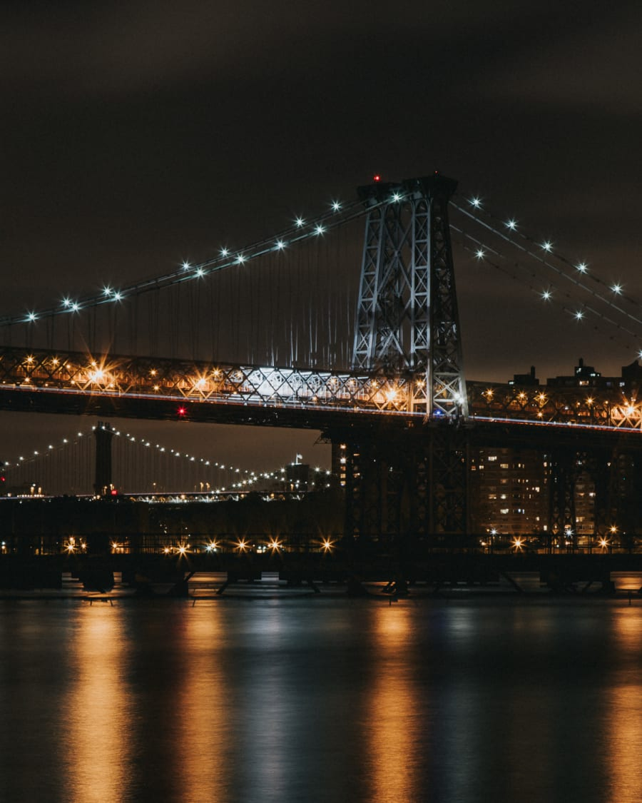 Long exposure of the Williamsburg Bridge at night from the river side