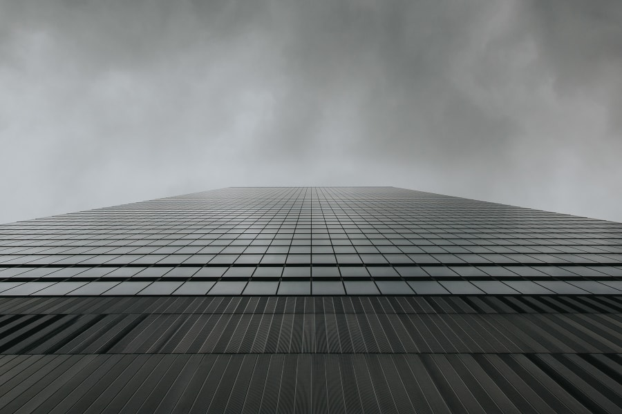 A minimal look up at the steel facade of 250 World Trade Center