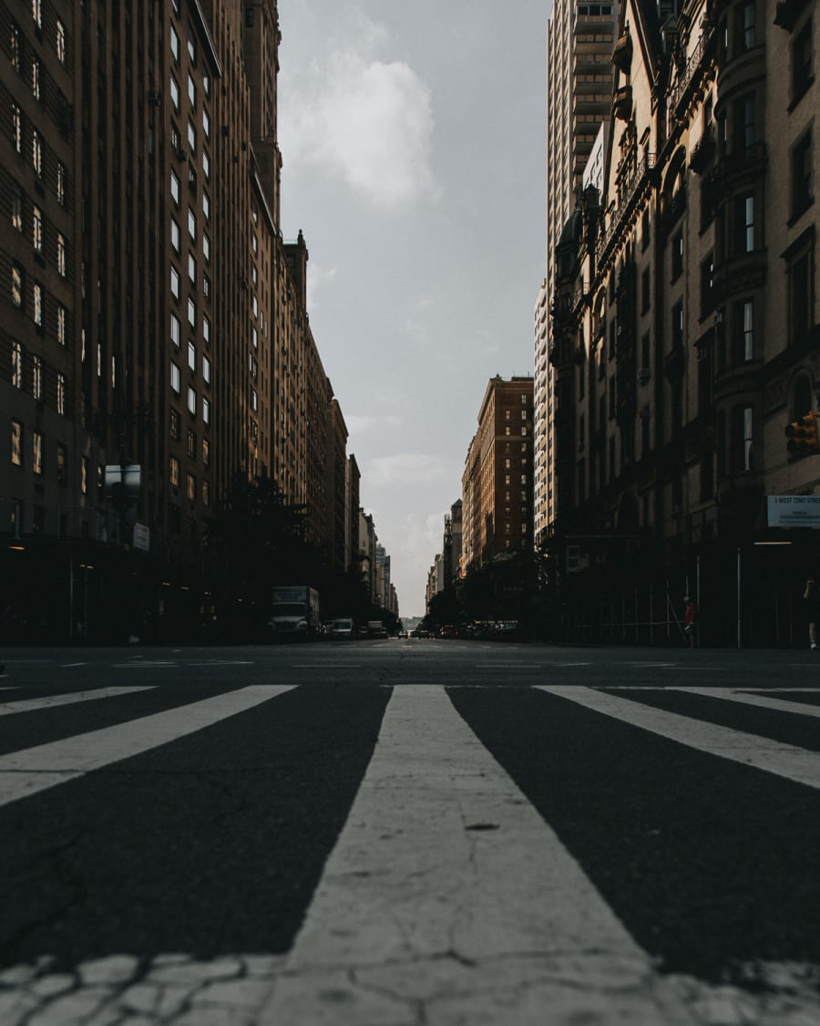 View down a long street in the upper west side of Manhattan, New York City