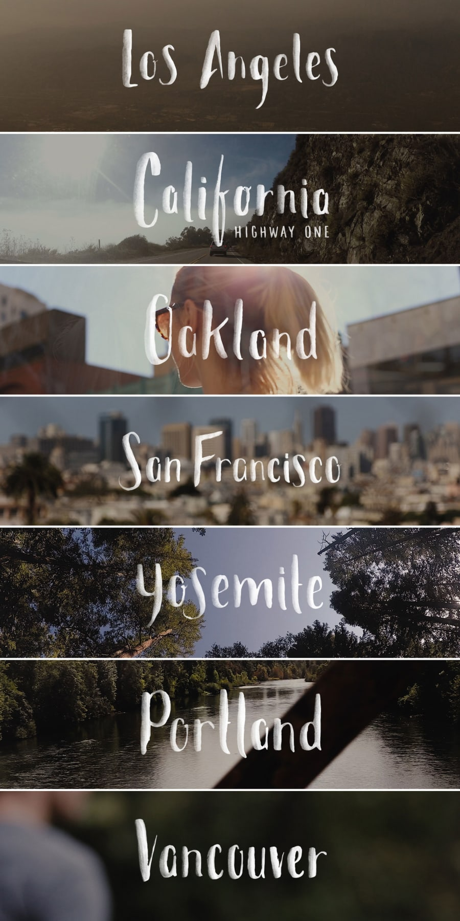 hand-drawn brush lettering of Los Angeles, Oakland, San Francisco, Yosemite, Portland, and Vancouver