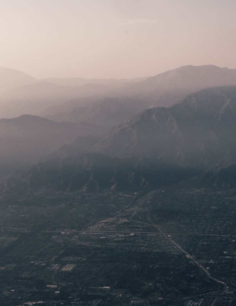 hazy hills of Los Angeles from the sky