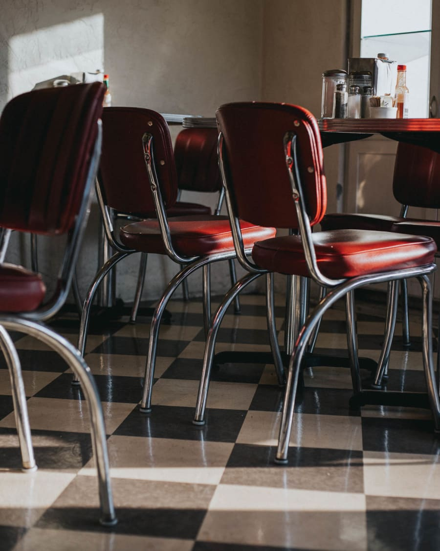 Diner chairs and table at Sugar Pine Cafe in Mariposa, California