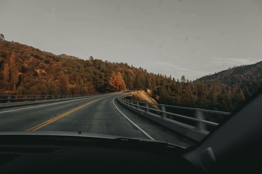 Driving across a bridge towards Yosemite
