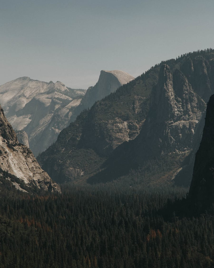 Tunnel view in Yosemite National Park with Half Dome in the background