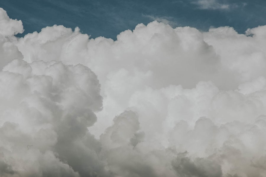 Pristine fluffy white clouds with a touch of blue sky