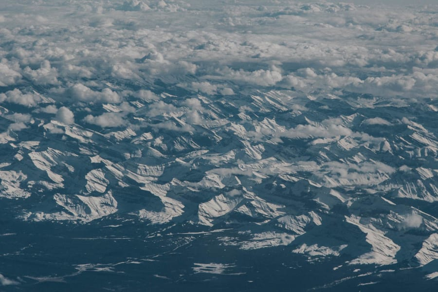 Snowy Canadian mountain range captured from aeroplane