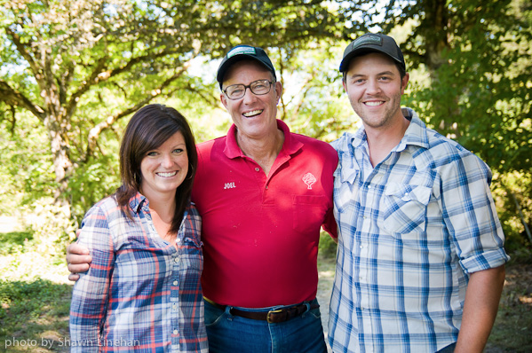 Afton Field Farm - Owners, Tyler & Alicia Jones, with Tyler's mentor, Joel Salatin of Polyface Farm.  Tyler apprenticed at Polyface Farm from 2002-2003.  We, at Afton Field Farm, now use the same principles, ethics, and strategies in raising & producing our pasture, animals, and products.