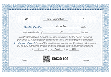 tos2 dy2pe5 - XYZ Corporation - ERC20 Tokenized Security