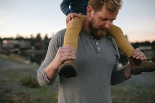Child on fathers shoulders