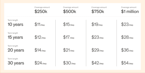 Here are some sample monthly life insurance rates for women