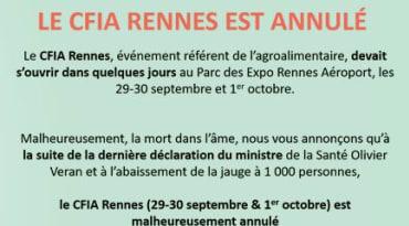 Le Salon CFIA de Rennes est annulé