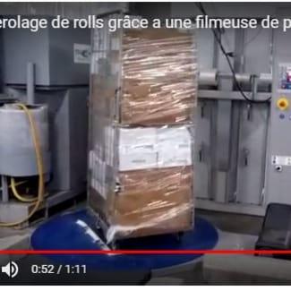 filmeuse de palette transformée pour banderoler des rolls