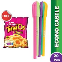 Econo Castle Pencil Pen (Multi Color Body) - (Krispy Thinos Free) !