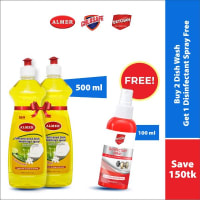 Almer Buy 2 Concentrated Dish Washing Liquid 500ml 2pcs (Free Oxyclean Disinfectant Spray100ml)