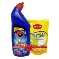 Chlosafe Toilet Cleaner (Almer Liquid Dish Cleaner Refill Pack 250 ml Free)