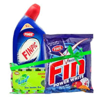 """<span style=""""background: #FF7F50; border-top-left-radius: 25px; border-bottom-left-radius: 25px; padding: 3px 0px 3px 3px;"""">Finis</span> Cleaning Pack (Finpic 500ml + Fin Washing Powder 500gm + Lebu Dish Wash 325 gm)"""