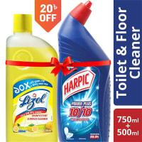 Harpic 750 ml Toilet Cleaner & Lizol 500 ml Floor Cleaner Citrus Double Shurokkha Combo