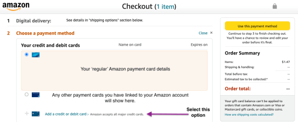 Choosing to add a new payment method