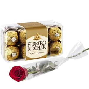 Ferrero Rocher With Single Rose