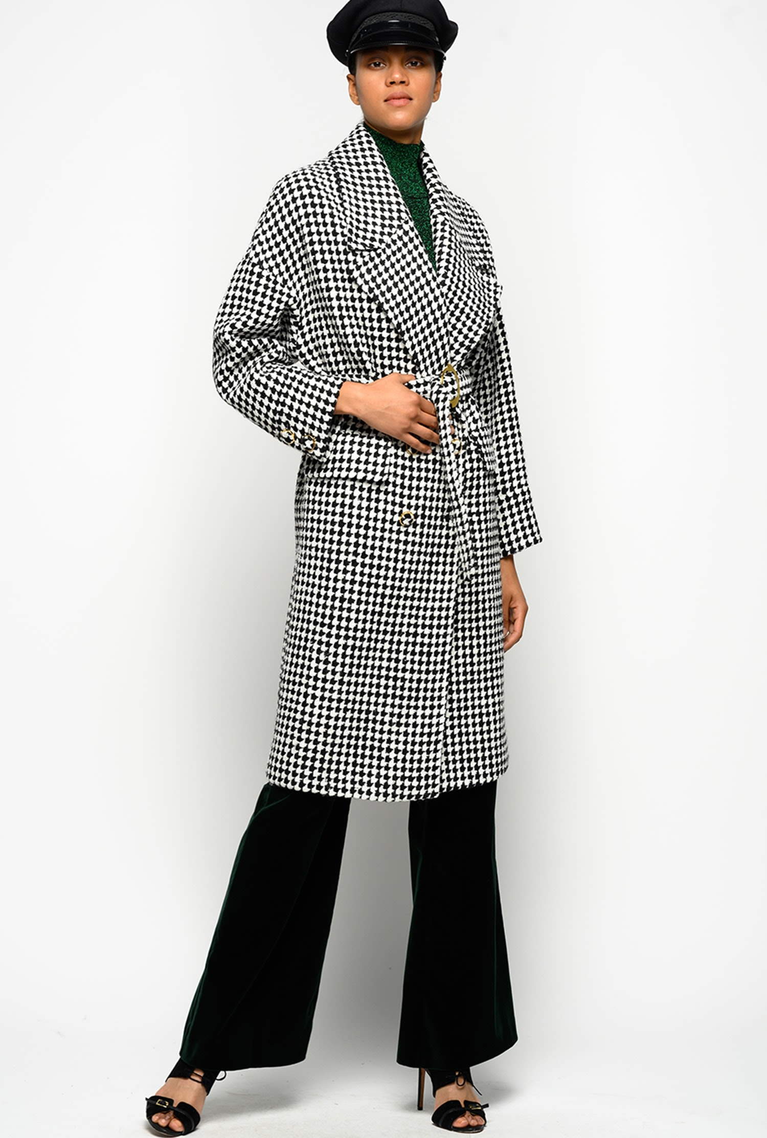 Houndstooth Belted Trench