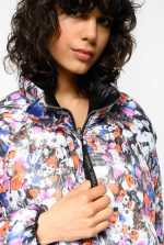 Reversible duvet coat with floral print