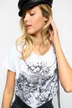 Camiseta con estampado Toile de Jouy con tema espacial