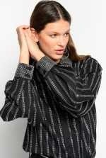 Shirt with rhinestone stripes