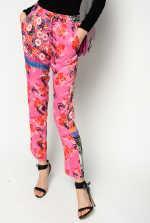 Pantalon à imprimé patchwork japonais