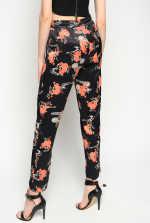 日式花朵图案慢跑裤