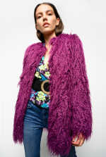 Mongolian-effect faux fur pea jacket