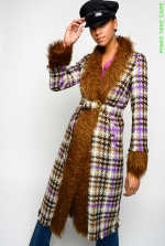 Long coat in check hopsack and faux fur